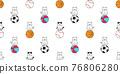cat seamless pattern kitten beach ball calico basketball baseball sport pet scarf isolated cartoon animal tile wallpaper repeat background doodle illustration design 76806280