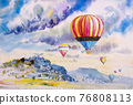 Watercolor landscape painting of hot air balloon. 76808113