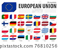 European union . EU flag and country membership . And europe map on background . Inserted paper flags design . Vector . 76810256
