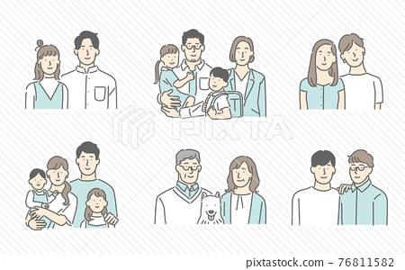 各種家族造型的形象插畫素材 76811582