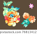 Beautiful colorful watercolor flowers and roses 76813412