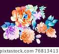 Beautiful colorful watercolor flowers and roses 76813413