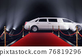 3d render red carpet with a limousine on the black background 76819296