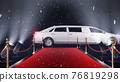 3d render red carpet with limousine and confetti 76819298
