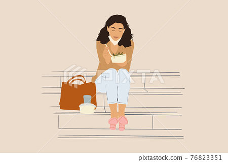 Woman have outdoor lunch on stairs near office building 76823351