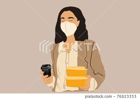 Woman in protective facial mask with takeaway food 76823353