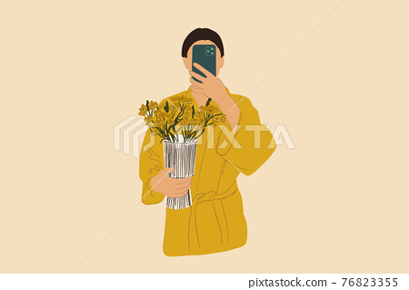 Woman make a selfie in bathrobe holding vase with flowers  76823355