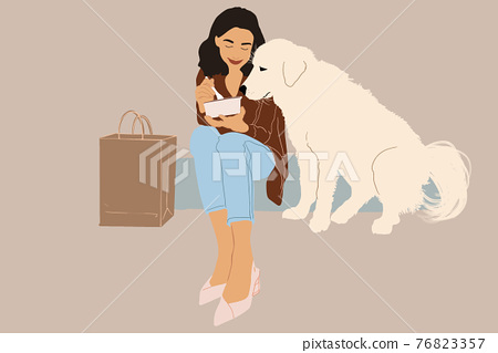 Woman have outdoor lunch with dog 76823357