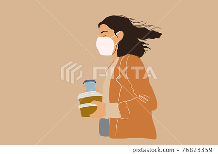 Woman in protective facial mask with takeaway food 76823359