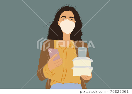 Woman in protective facial mask with takeaway food 76823361