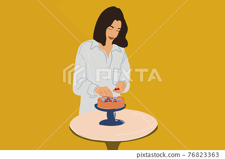 Woman decorate cheesecake with raspberry on the cake stands 76823363
