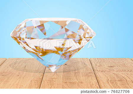 Diamond on the wooden planks, 3D rendering 76827706