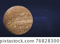 Brown mystical dead planet with craters in space 76828300