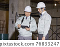 Workers working at the construction site 76833247