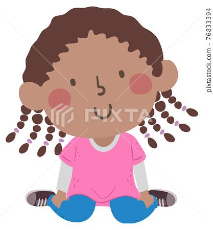 Kid Girl Position W Sitting Illustration 76833394