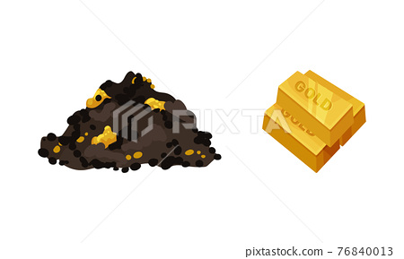 Mining Industrial Attribute with Pile of Ore and Bars of Gold Vector Set 76840013