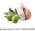 Green olives and garlic isolated on white background 76844289
