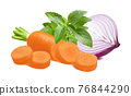 Carrot, purple onion and green basil isolated on white background. 76844290