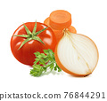 Tomato, onion, carrot and green basil isolated on white background 76844291