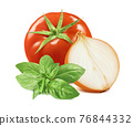 Tomato, onion and green basil isolated on white background 76844332