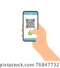 Flat design illustration of male hand holding touch screen mobile phone. Successful QR code scan for payment, vector 76847732