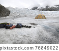 Equipment For Ice Climbing And A Tent On Mendenhall Glacier In Alaska 76849022