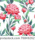 Peonies seamless floral pattern. Oriental style vintage flowers 76849262