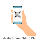 Flat design illustration of male hand holding touch screen mobile phone. QR code scan for payment or identification, vector 76852392