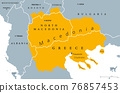 Geographical region of Macedonia, political map. Region of the Balkan Peninsula in Southeast Europe, part of Greece, North Macedonia, Bulgaria, Albania, Kosovo and Serbia. Illustration. Vector. 76857453
