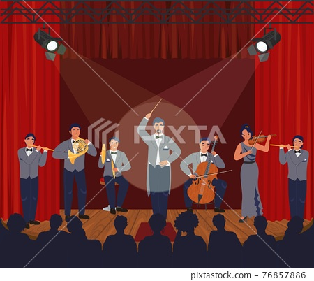 Opera theater scene. Symphony orchestra performing on stage, vector illustration. Classical music concert, performance. 76857886