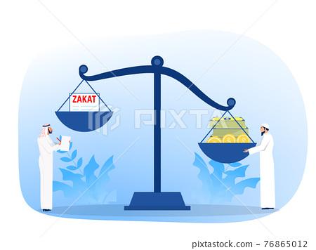 muslim pay zakat concept. muslim law and regulations financial advisor justice.  Flat cartoon vector illustration 76865012