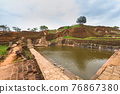 Ruins on top of Sigiriya Lion's rock palace and fortress 76867380