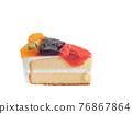 Mixed fruit cake, a close up of homemade fruitcake bakery with kiwi, orange, blueberry and strawberry topping isolated on white background. 76867864