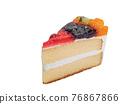 Mixed fruit cake, a close up of homemade fruitcake bakery with kiwi, orange, blueberry and strawberry topping isolated on white background. 76867866