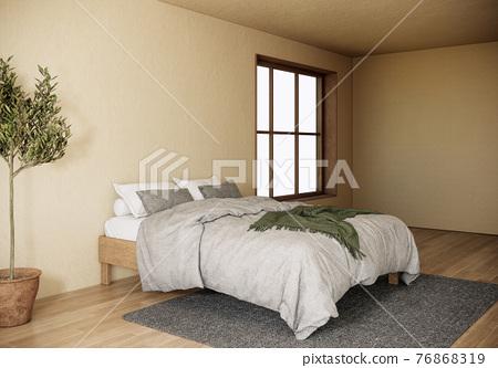 Interior of Japandi style bedroom with large window. modern scandinavian apartment design. 3d render background 76868319
