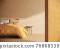 Bedroom Japandi style interior design and decoration, minimal apartment and sunlight from window. 3d rendering 76868339
