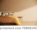 Japandi style bedroom interior design and decoration, minimal apartment and sunlight from window. 3d rendering 76868340