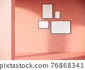 black picture frames on orange wall. classic vintage building style 3d rendering background 76868341