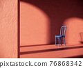 blue chair in the red room. classic building style 3d rendering background 76868342