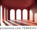 classic red space interior with asch shape, white background. 3d render 76868343