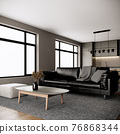 modern room interior design with furniture. urban apartment style. 3d rendering background 76868344