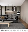 modern room interior design with furniture, black leather sofa and kitchen in the urban apartment style. 3d rendering background 76868345