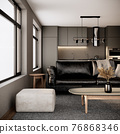 modern room interior design with furniture, black leather sofa, window and kitchen in the urban apartment style. 3d rendering background 76868346