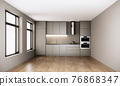 modern scandinavian room interior design with large window and kitchen, urban apartment style. 3d rendering background 76868347