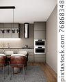 modern scandinavian room interior design with furniture, dining room and kitchen in the urban apartment style. 3d render vertical background 76868348