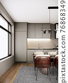 modern scandinavian room interior design with furniture, dining room, large window and kitchen in the urban apartment style. 3d render vertical background 76868349