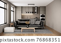modern scandinavian room interior design with furniture, black leather sofa, large window and kitchen in the urban apartment style. 3d rendering background 76868351