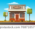 Cozy cafe on the side of the road 76871657