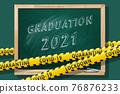 Graduation 2021. Lettering in a school blackboard. Covid-19 concept. 76876233