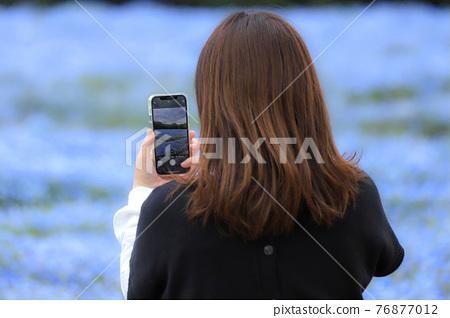 여성, 여자, 스마트폰 76877012